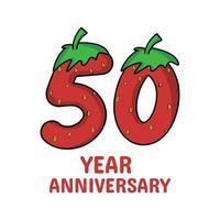 50 Jahre Jubiläumsfeier Erdbeer Charakter Vektor Vorlage Design Illustration