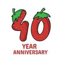40 Jahre Jubiläumsfeier Erdbeer Charakter Vektor Vorlage Design Illustration