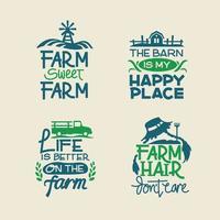 Bauernhof Zitate gesetzt mit Handschrift und Tiere Scheune Pickup Traktor und Gemüse Hintergrund vektor