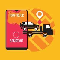 Konzept der mobilen Anwendung des Abschleppdienstes für Autos vektor