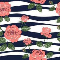 nahtloses Muster der süßen Rosen auf welligem Hintergrund für Mode, Stoff, Textil, Druck oder Tapete vektor