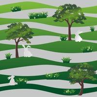 weiße Kaninchen im nahtlosen Muster der Wiese auf grünem Wellenhintergrund für glückliches Ostern, Stoff, Textil, Druck oder Tapete vektor