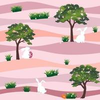 niedliche Kaninchen mit Ostereiern im Garten nahtloses Muster auf Pastellhintergrund für glücklichen Feiertagsstofftextildruck oder Tapete vektor