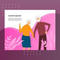 Flache Großeltern-Charakter-Landungsseiten-Vektor-Illustration