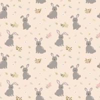 nahtloses Muster mit Kaninchen die Bande auf niedlichem Blumenhintergrund. Perfekt für Kinderprodukte, Bekleidung, Mode, Stoff, Textilien, Druck- oder Geschenkpapier vektor