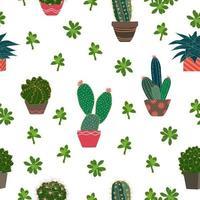 niedlicher Kaktus und Sukkulenten auf nahtlosem Topfmuster für Dekor, Mode, Stoff, Textil, Druck oder Tapete vektor