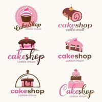 Kuchen Logo Design Kollektion vektor