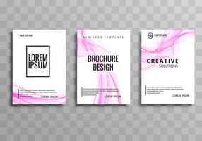 Vacker stilfull vågig affärskort broschyr mall vektor