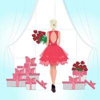 schönes junges blondes Mädchen, das durch das Fenster mit einem Blumenstrauß der roten Rosen-Modeillustration im flachen Innenraum der schönen Frau des flachen tsili hübschen Frau viele Geschenke steht vektor