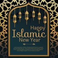 Islamischer neues Jahr-Gruß-Karten-Vektor