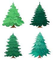 Satz von verschiedenen Nadelbäumen vektor