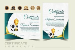 Fußballspielzertifikat-Diplom mit goldenem Pokalsatzvektor vektor