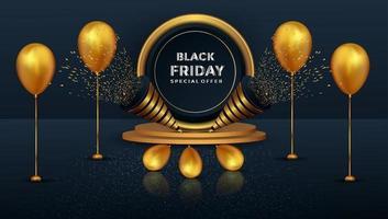 Black Friday Sonderangebot realistisches Gold Podium und Luftballons Design vektor