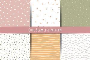 eine Reihe von einfachen minimalistischen Sommer Frühling nahtlose Muster sanfte Ornamente mit Linien Tropfen Herzen Formen vektor