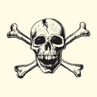 Schädel mit Knochen-Linolschnitt-Vektor-Design