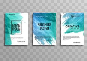Abstrakt färgrik vattenfärg byggnad broschyr uppsättning vektor