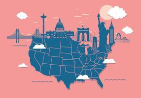 Landmark-Karte der Vereinigten Staaten 3 Vektor