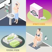 Hygiene isometrische 2x2 Design-Konzept Vektor-Illustration vektor