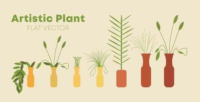 sieben Paare einzigartiger künstlerischer schöner Pflanzentopfstressflachvektor vektor