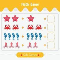 Mathe-Spiel mit Bildern für Kinder einfaches Level-Bildungsspiel für Kinder Vorschule Arbeitsblatt Aktivität vektor
