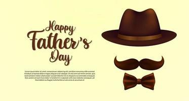 glückliche Vatertagsplakatfahnenschablone mit Hutschnurrbart und Krawatte mit eleganter Artpostkarte vektor