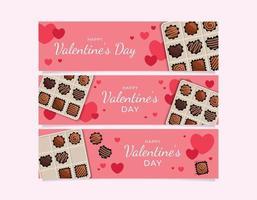 Valentinstag Schokolade Herz Thema Poster vektor