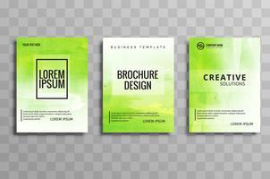 Moderna gröna byggnad brochuse mall set design vektor