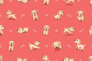 Vektor Cartoon Charakter Labrador Hund nahtloses Muster