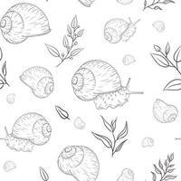 Hand gezeichnete Gartenschnecke mit floralen Elementen graviertes nahtloses Muster im Vintage-Stil vektor