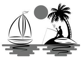 Ein Mann fischt und raucht bequem auf einer Insel mitten im Meer, auf der Kokospalmen stehen und neben der ein Segelboot schwimmt vektor