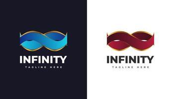 Luxus-Infinity-Logo mit Farbbandkonzept für Geschäfts- und Technologielogo vektor