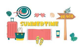 niedliche helle Reihe von Sommersachen für Reisen und Strandurlaub. Artikel für den Urlaub auf See oder in tropischen Ländern. flache Illustration des Vektors vektor