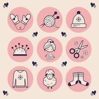 stilvolle Symbole für Handarbeiten. Bilder einer Strickfrau, einer Schere, Knöpfen, einem Hut, Handschuhen mit Herzen, weicher und warmer Schafwolle, einem Wollknäuel mit Stricknadeln. stilvolle Highlights handgefertigt. Vektor