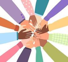 vereinte Gemeinschaft der Welt. verschiedene Nationalitäten zusammen für Teamwork, Einheit oder Vielfalt. vektor