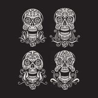 Tag des toten Schädels Tattoo Vektorgrafik auf schwarz vektor