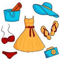 Satz Sommerelemente Flip Flops Kleid Strandhut Badeanzug Strandtasche Kamera Vektor-Illustration Cartoon-Stil vektor