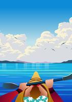 Kayaking erste Personen-Ansicht-Vektor-Illustration
