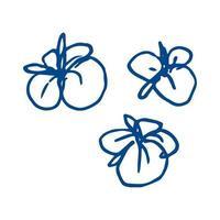 tropische Blumen skizzieren auf einem weißen Hintergrund vektor