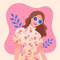 Mädchen mit gewelltem Haar und Brille Vektor