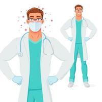 Arzt in Maske und Handschuhen geschützt von Coronavirus-Vektorillustration vektor