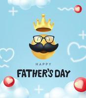glad fäder dag banner bakgrund med mustasch smiley vektor