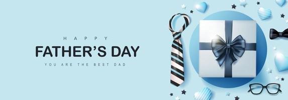 Vatertagskarte mit Geschenkbox für Papa auf blauem Hintergrund vektor