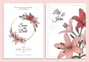 rosa Lilie Hochzeitseinladung mit Goldrahmen linearer Kunstskizzenartvektor vektor