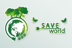 Ökologie Grüne Städte helfen der Welt mit umweltfreundlichen Konzeptideen vektor