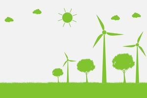 Windkraftanlagen mit Bäumen und Sonne saubere Energie mit umweltfreundlichen Konzeptideen vektor
