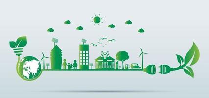 Nachhaltiges Stadtwachstum in der Stadtökologie Grüne Städte helfen der Welt mit umweltfreundlichen Konzeptideen vektor
