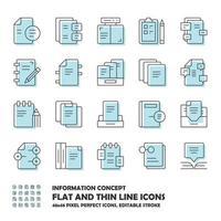 Standard-Informationssymbole und flache Liniensymbole für Dokumente vektor