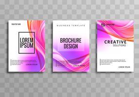 Abstrakt affär brochuse färgstark våg mall set vektor