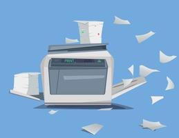 Büro Multifunktionsdruckerscanner viele Dokumente und Papiere isoliert flache Vektor-Illustration vektor