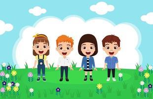 glücklicher niedlicher Kinderjungen- und -mädchencharakter, der schönes Outfit steht und auf Gartenhintergrund lokalisiert posiert vektor